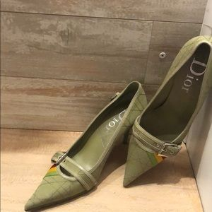 Dior vintage canvas pointed heels shoes
